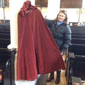 Jill with Biba velvet cape