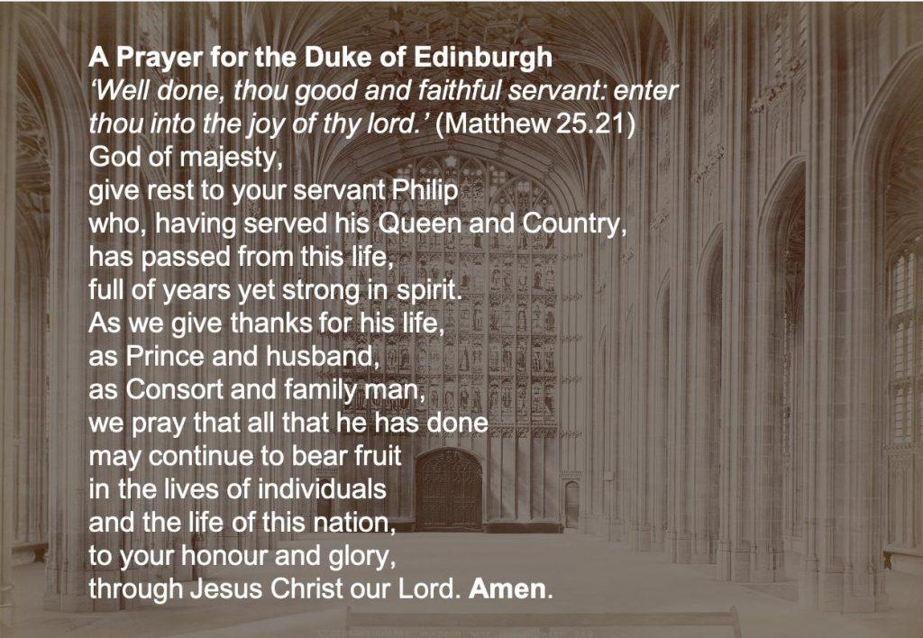 Prayer for the Duke of Edinburgh